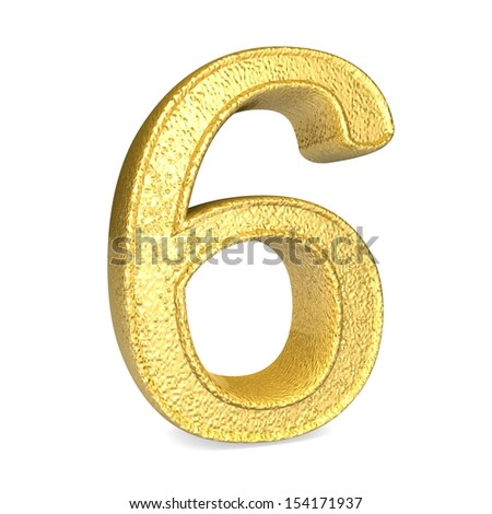 Number 6. 3d render shiny gold number collection - stock photo