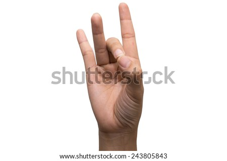 Number eight in sign language. - stock photo