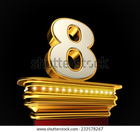 Number Eight on a golden platform with brilliant lights over black background - stock photo