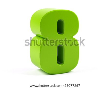 Number eight on a white background. - stock photo