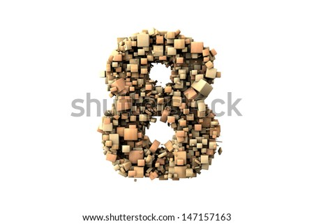 Number eight shape  build with wood particles, over white background - stock photo
