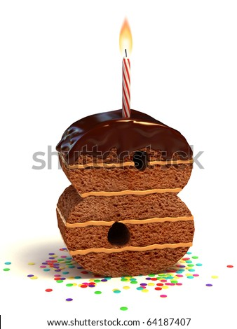 number eight shaped chocolate birthday cake with lit candle and confetti - stock photo