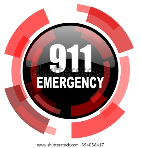 number emergency 911 red modern web icon - stock photo