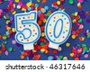 Number fifty birthday candle on red background - stock photo