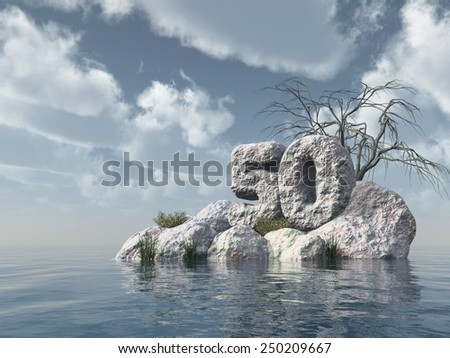 number fifty rock at water - 3d illustration - stock photo