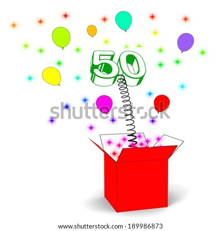 Number Fifty Surprise Box Showing Fiftieth Birthday Or Birth Anniversary - stock photo