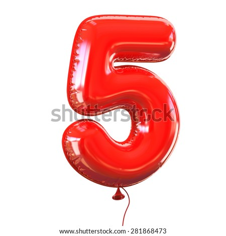 number five - 5 balloon font - stock photo