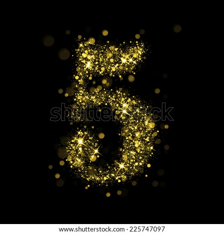 Number five of gold glittering stars (glittering font concept).Vector christmas illustration of a shining stars numbers. - stock photo