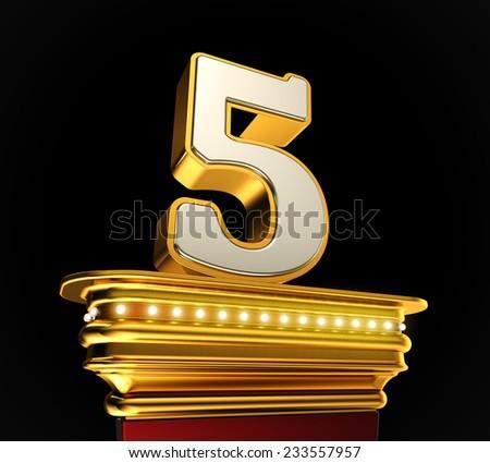 Number Five on a golden platform with brilliant lights over black background - stock photo