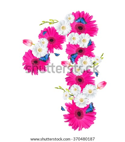 Number 1, flower isolated on white background. Gerber, tulips and butterfly  - stock photo