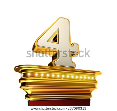 Number Four on a golden platform with brilliant lights over black background - stock photo