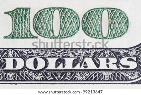 Number 100. Fragment of $100 banknotes. - stock photo