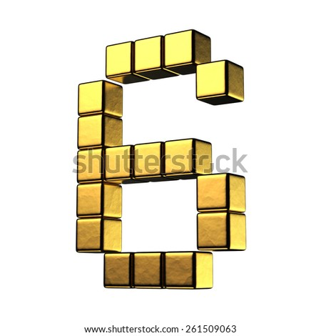Number 6 from big cube gold perspective alphabet. There is a clipping path - stock photo