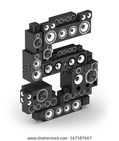 Number 5 from black woods hi-fi speakers sound systems in isometry - stock photo
