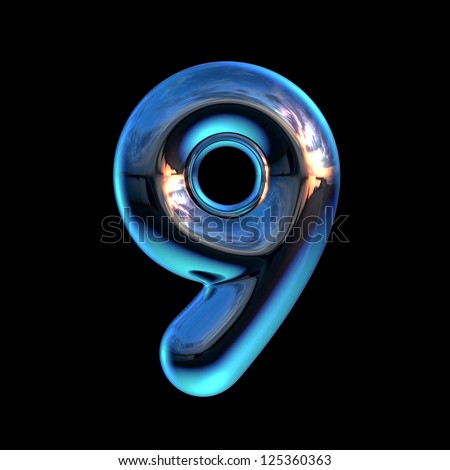 Number 9 from chrome blue sunset alphabet. There is a clipping path - stock photo