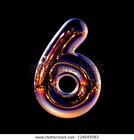 Number 6 from chrome night city alphabet isolated on black - stock photo