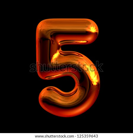 Number 5 from chrome orange sunset alphabet. There is a clipping path - stock photo
