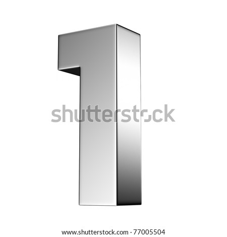 Number 1 from chrome solid alphabet. There is a clipping path - stock photo