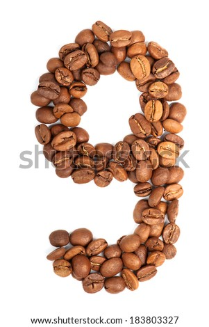 Number from coffee beans isolated on white background - stock photo