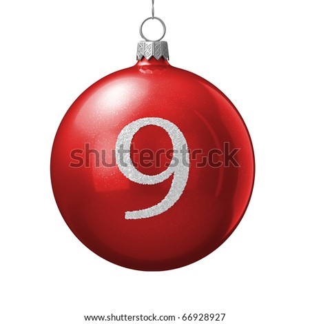 Number 9 from cristmas ball alphabet. There is a clipping path - stock photo
