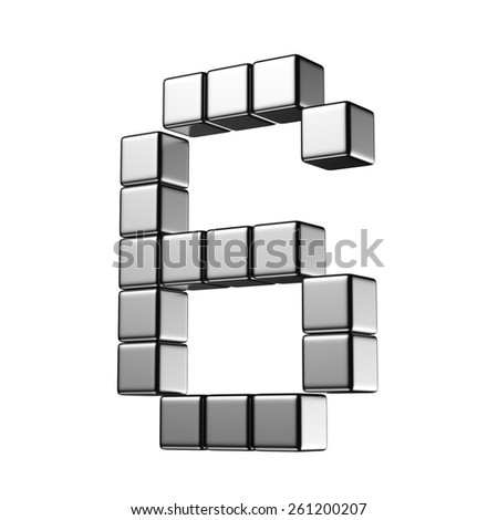 Number 6 from digital cube middle perspective alphabet. There is a clipping path - stock photo