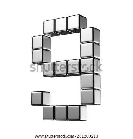 Number 9 from digital cube middle perspective alphabet. There is a clipping path - stock photo