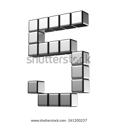Number 5 from digital cube middle perspective alphabet. There is a clipping path - stock photo