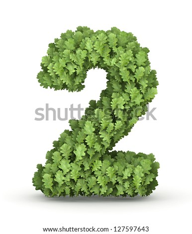 Number 2 from fresh green oak grow leaves - stock photo