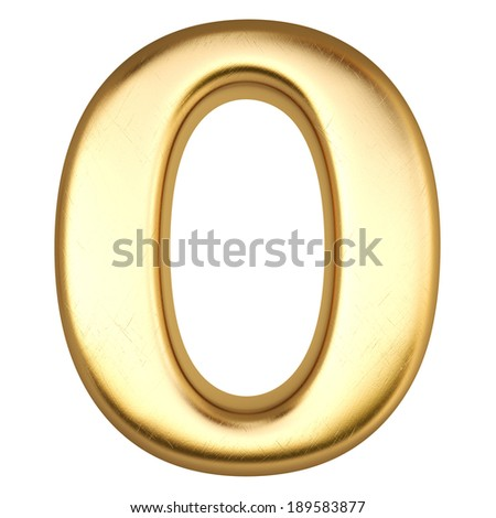 number from gold. isolated on white. - stock photo