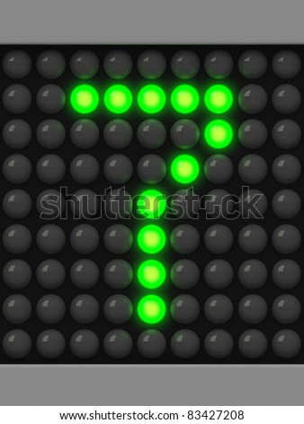 Number 7 from green creeping line alphabet - stock photo