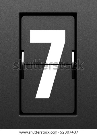 Number 7 from mechanical scoreboard alphabet - stock photo