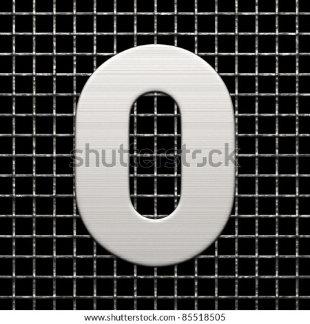 Number 0 from metal net alphabet. There is a clipping path - stock photo