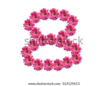Number 8 from pink gerbera flowers alphabet isolated on white background - stock photo