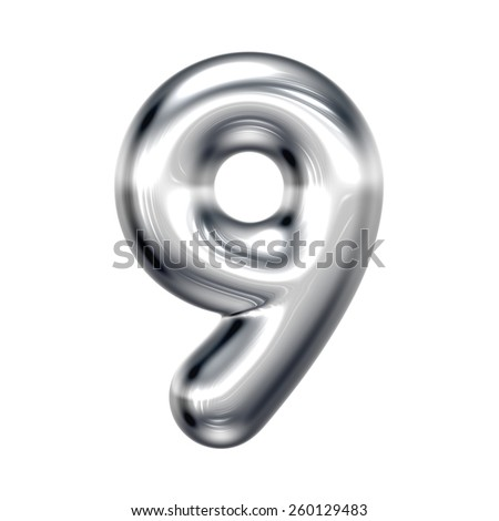 Number 9 from round chrome alphabet. There is a clipping path - stock photo