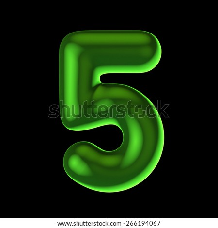 Number 5 from round green back light alphabet. There is a clipping path - stock photo