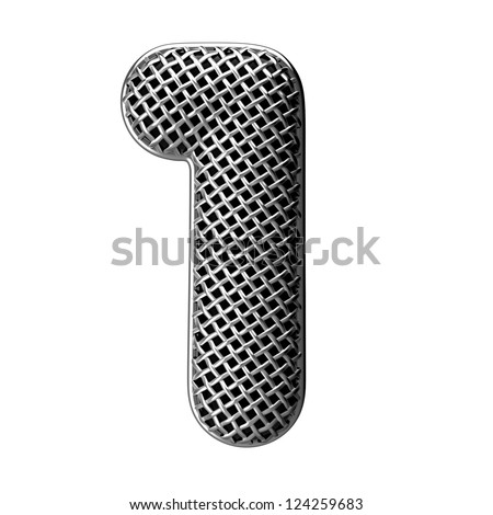 Number 1 from round microphone style alphabet. There is a clipping path - stock photo