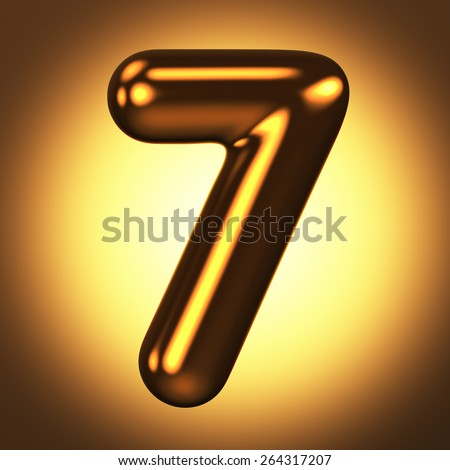Number 7 from round pure gold alphabet. There is a clipping path. The background is presented as an example. It can be replaced - stock photo
