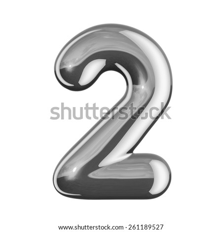 Number 2 from round reflection chrome alphabet. There is a clipping path - stock photo