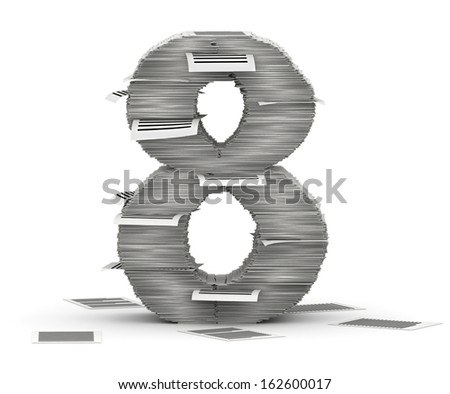 Number 8, from stacks of paper pages font - stock photo