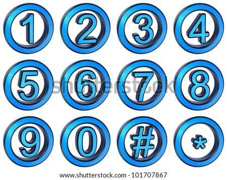 Number from 0 to 9 in glossy, blue metal over white background - stock photo