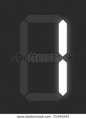 Number 1 from white digital display series - stock photo