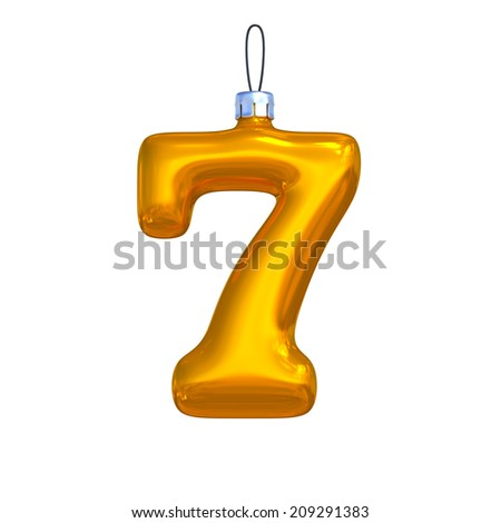 Number 7. Golden shining christmas ball. Alphabet isolated on white background. - stock photo