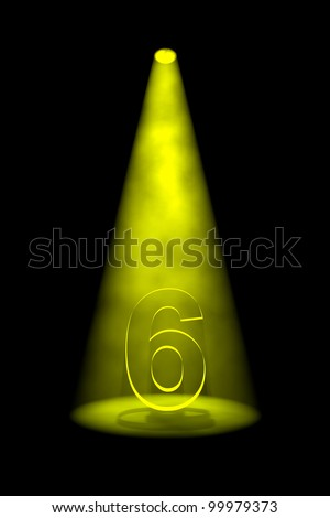 Number 6 illuminated with yellow spotlight on black background - stock photo