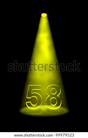 Number 58 illuminated with yellow spotlight on black background - stock photo