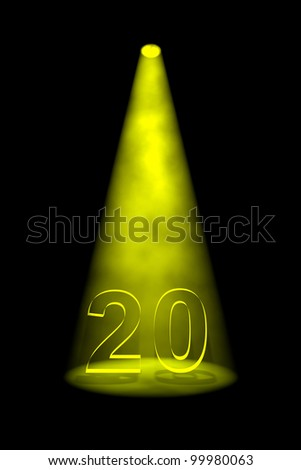 Number 20 illuminated with yellow spotlight on black background - stock photo
