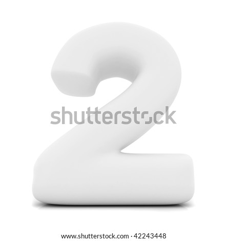 Number 2 in 3D isolated over a white background - stock photo