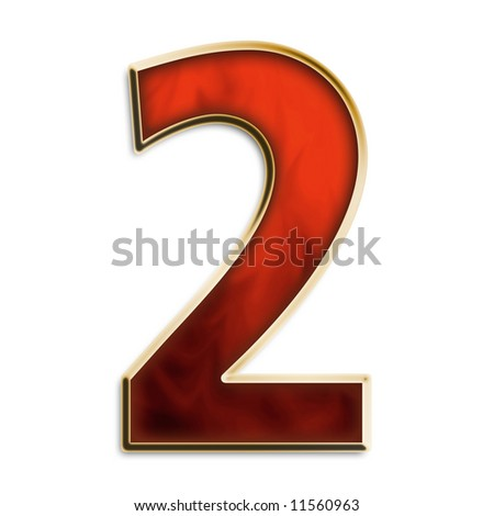 Number 2 in fiery red & gold isolated on white series - stock photo