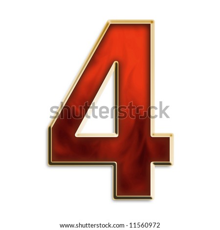 Number 4 in fiery red & gold isolated on white series - stock photo