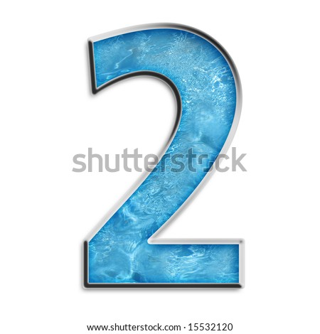 Number 2 in liquid light blue & silver isolated on white - stock photo