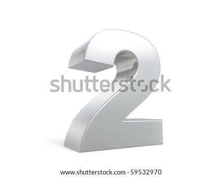 number 2 in metal - stock photo